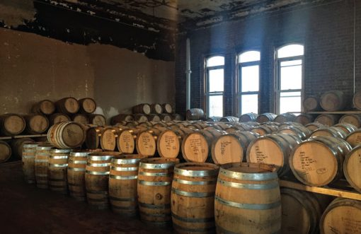 The barrel room at Kings County Distillery