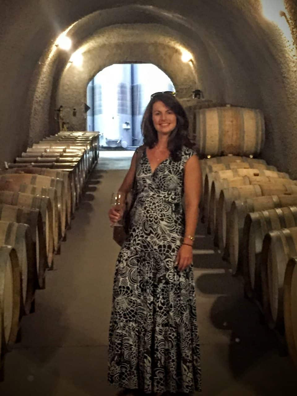 Suz in wine caves in Paso Robles, CA