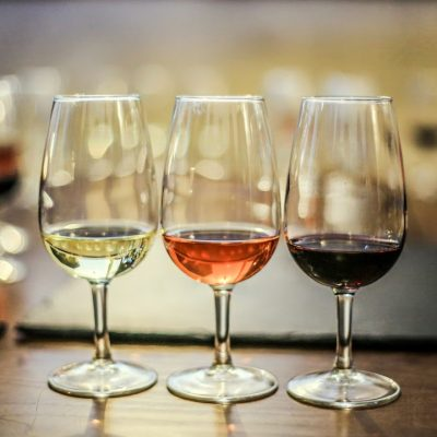 3 glasses of wine, white wine, rosé wine and red wine representing the 3 bottles you get each month from Vinely wine club